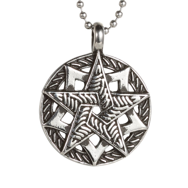 Men's Tribal Stainless Steel Vintage Pentagram Lucky Five-pointed Star Pendant Necklace, 24 Inch Chain