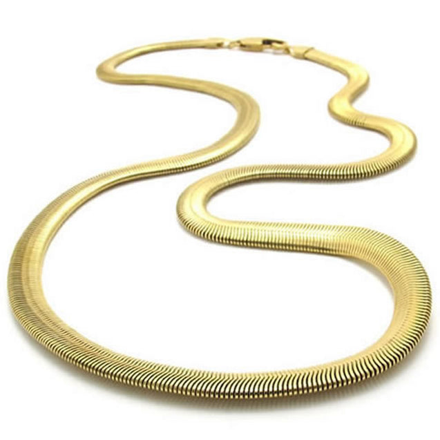 Stainless Steel Men Necklace Snake Chain - Gold 6mm 24""