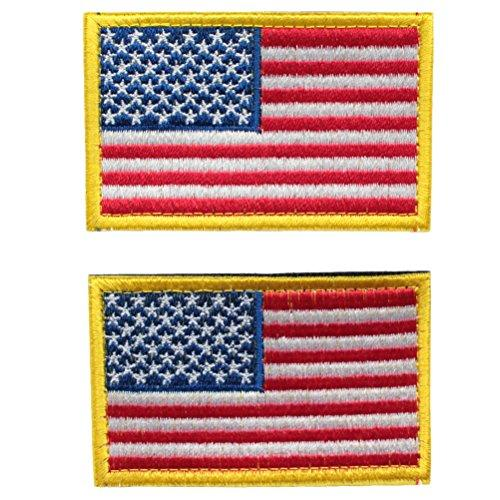 American Flag with Gold Border Embroidered Appliqué Patches