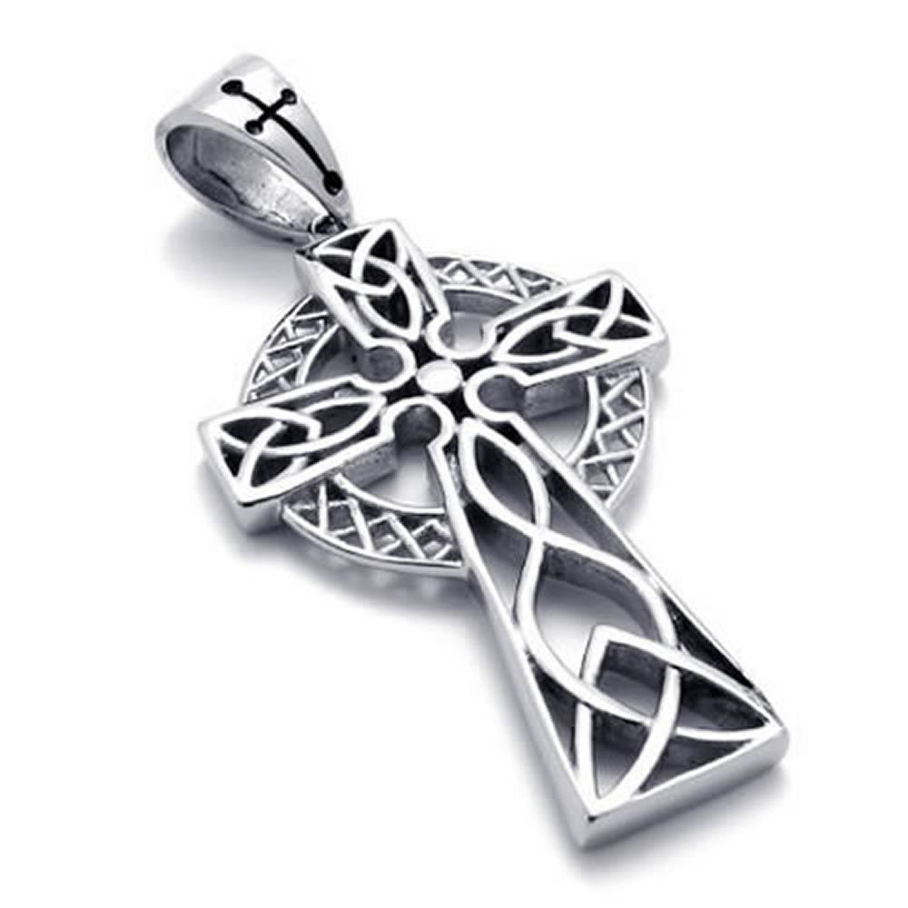 Stainless Steel Irish Knot Celtic Cross Men Women Necklace Pendant 24 inch Chain