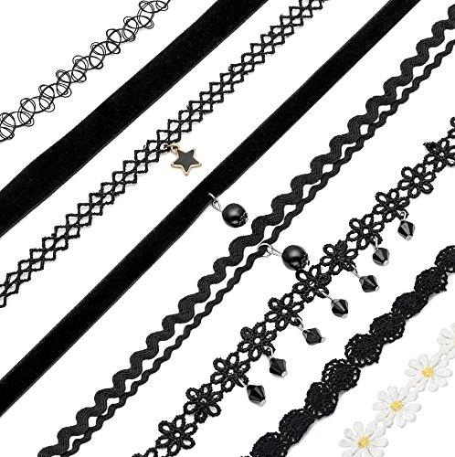 10-12 Pcs Leather Chain Necklace for Women Girls Choker Necklace Velvet Length Adjustable