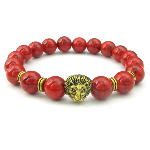 Stone Men Women Bracelet, 10mm Natural Energy Gemstone Beads Bangle, Lion Charm, Red Gold - InnovatoDesign