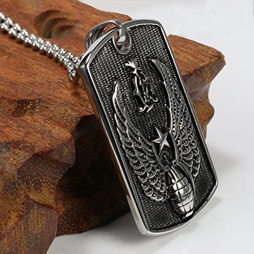 Dog Tag Mens Eagle Necklace Pendant Black , 24 Inch in Ball Chain