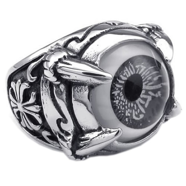 Stainless Steel Gothic Dragon Claw Evil Eye Biker Men Ring - InnovatoDesign