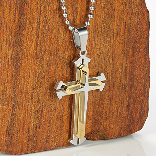 Men Polished 316l Stainless Steel Star Cross Necklace Pendant Golden Silver, 24 Inch Chain