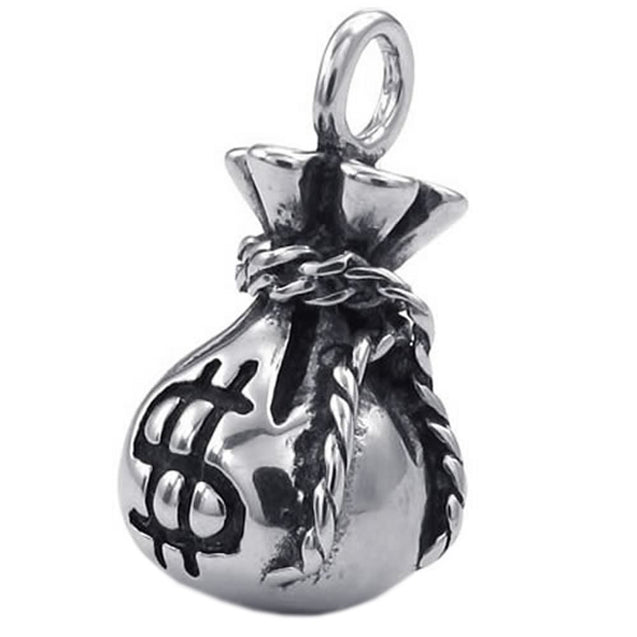 Men Women Dollar Sign Purse Stainless Steel Pendant Necklace, Silver, 24 inch Chain - InnovatoDesign