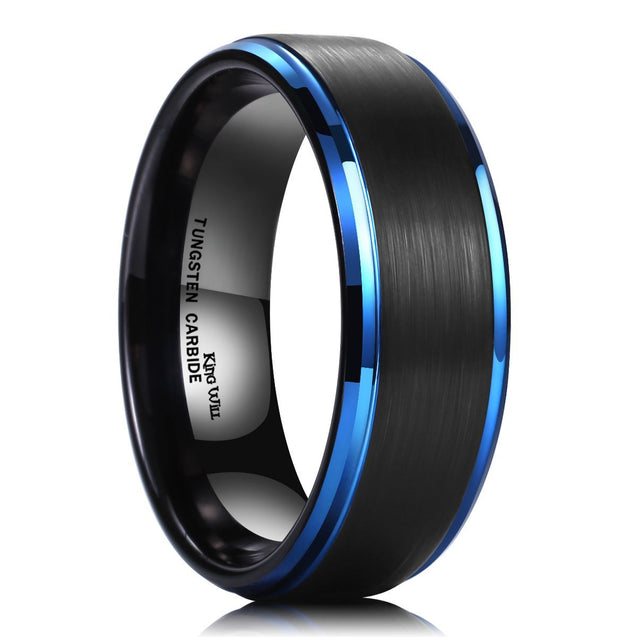 DUO 8mm Black Brushed Finish Tungsten Carbide Ring Blue Plated Wedding Band