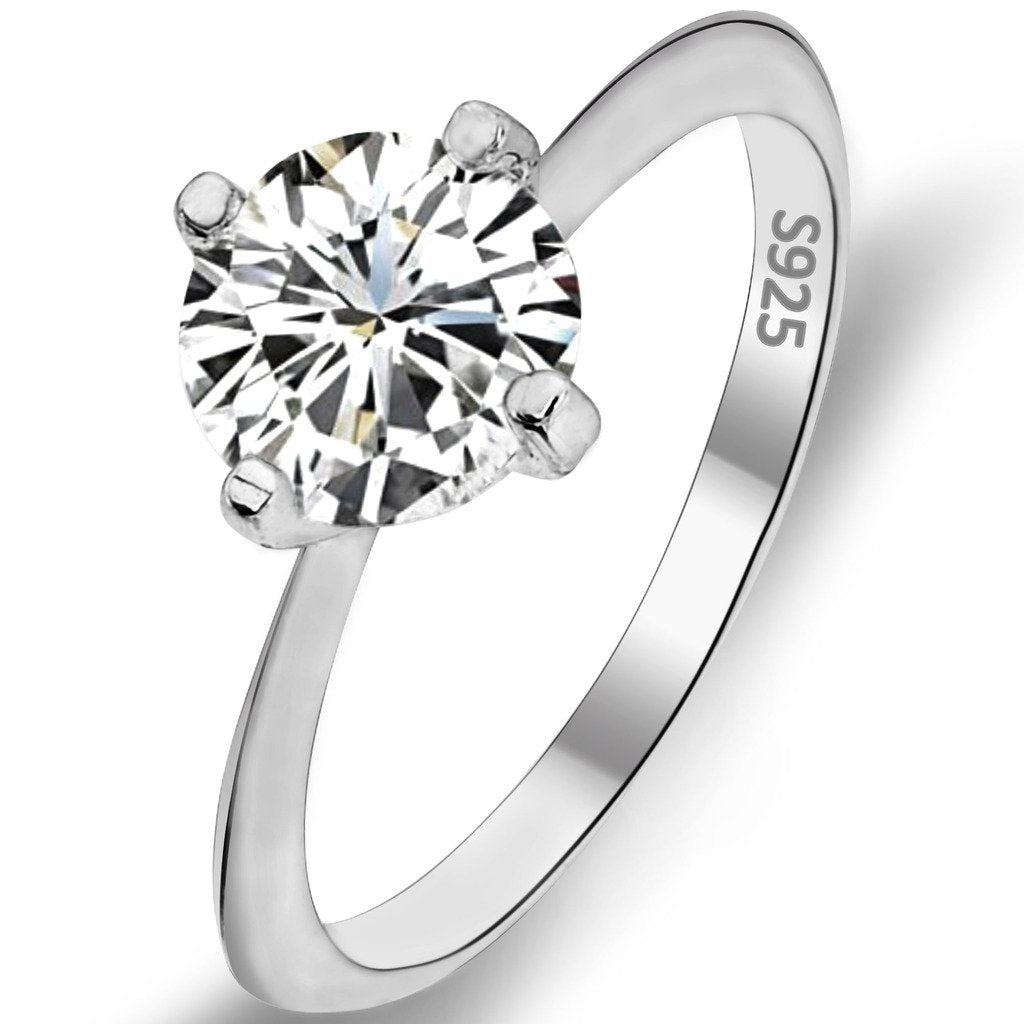 925 Sterling Silver Classical Round Cut .46ct Solitaire CZ Engagement Ring Clear