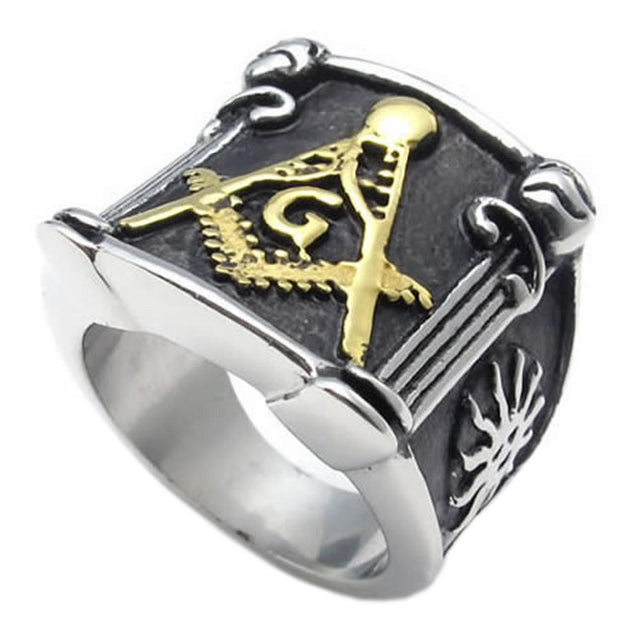 Embossed Freemason Masonic 316L Stainless Steel Band Enamel Men Ring