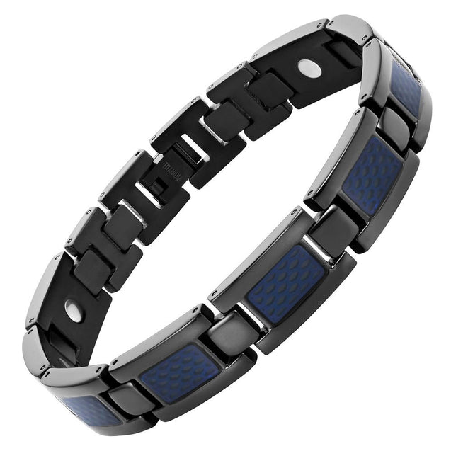 Mens Titanium Magnetic Therapy Bracelet with Blue Honey Comb Size Adjusting Tool & Gift Box Included - InnovatoDesign
