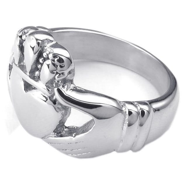 Men Women Stainless Steel Ring, Claddagh Heart Crown Wedding Band, - InnovatoDesign