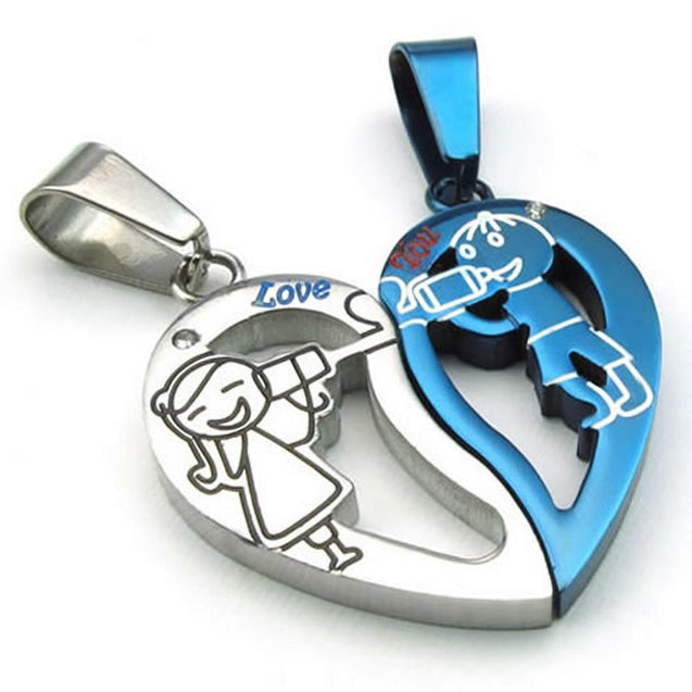 2pcs Men Women Couples Heart Stainless Steel Pendant Love Necklace, 18 & 22 inch Chain, Blue