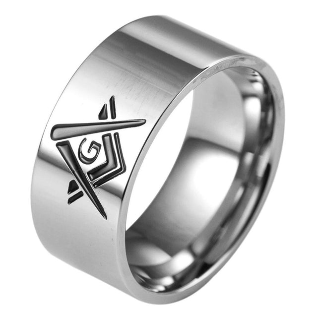 10mm Stainless Steel Masonic Ring Band