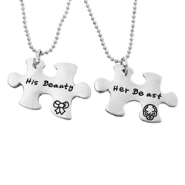 Women Pendant Engraving Her Beast His Beauty Memorial Necklace Set of 2 - InnovatoDesign