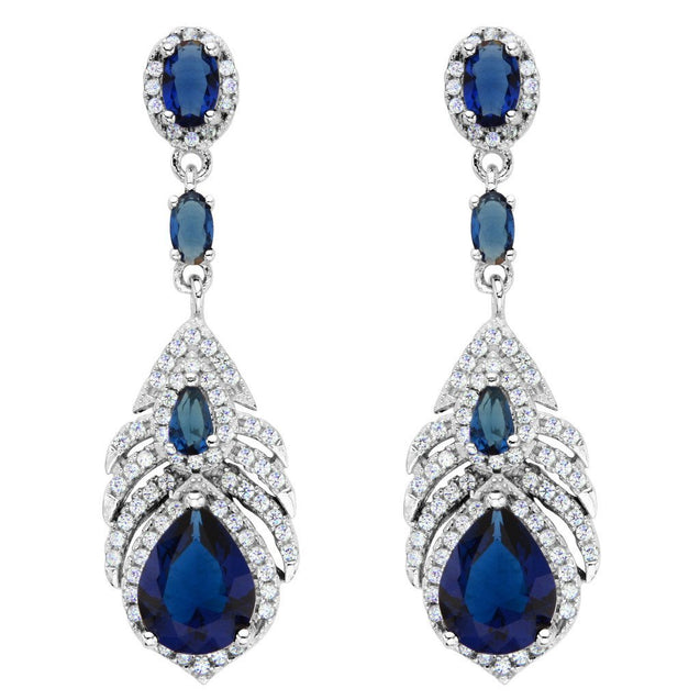 925 Sterling Silver Cubic Zirconia Peacock Feather Teardrop Earrings Sapphire Color
