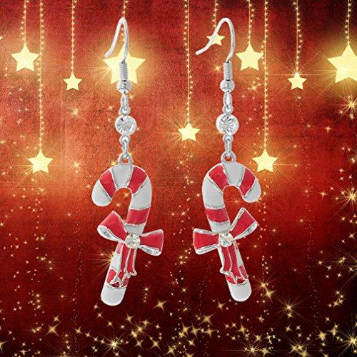 Christmas Enamel Rhinestones Fish Hook Long Dangle Line Drop Party Earrings