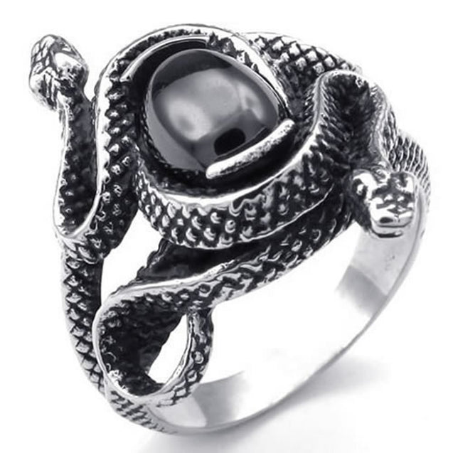 Vintage Stainless Steel Double Snake Band Biker Men Ring - InnovatoDesign