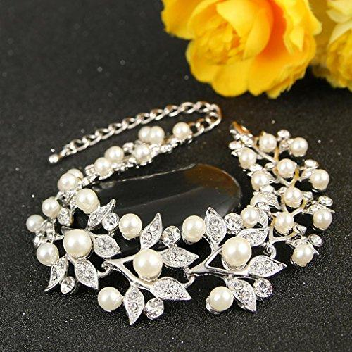 Austrian Crystal Ivory Color Simulated Pearl Bridal Leaf Link Bracelet Clear