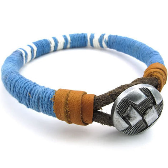 Men Women Leather Rope Cord Bracelet, Unisex Cuff Bangle, Blue