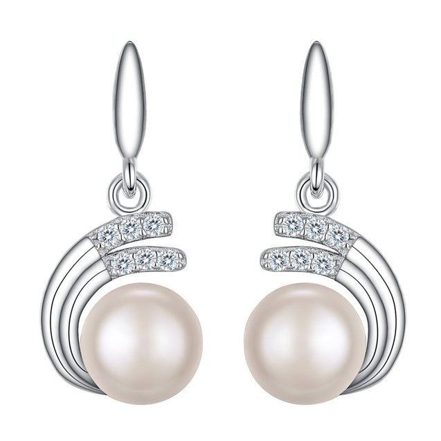 925 Sterling Silver CZ 8MM AAA Freshwater Cultured Pearl Wedding Dangle Earrings Clear