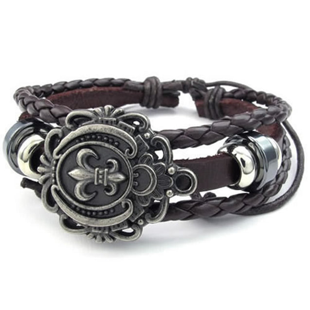 Men Women Leather Bracelet, Fleur De Lis Charm Bangle, Fit 7-9 inch, Brown - InnovatoDesign