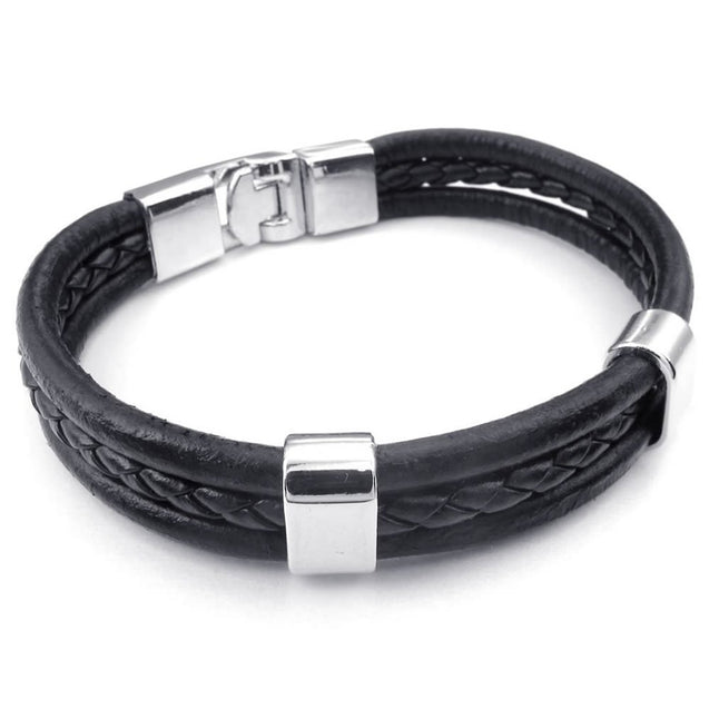 Men Women Leather Bracelet, Bangle, Black Silver - InnovatoDesign