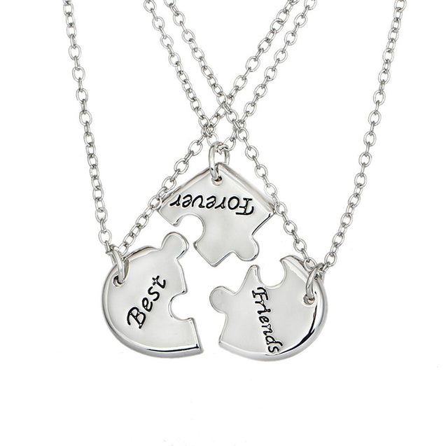 Silver Color Best Friend Forever Split Heart Pendant Friendship Necklace Set of 3 - InnovatoDesign