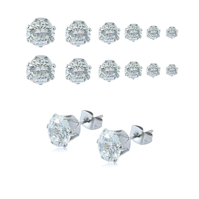 Round AAA Zircon Stud Earrings - 6 pairs , 3mm , 4mm , 5mm , 6mm , 7mm , 8mm