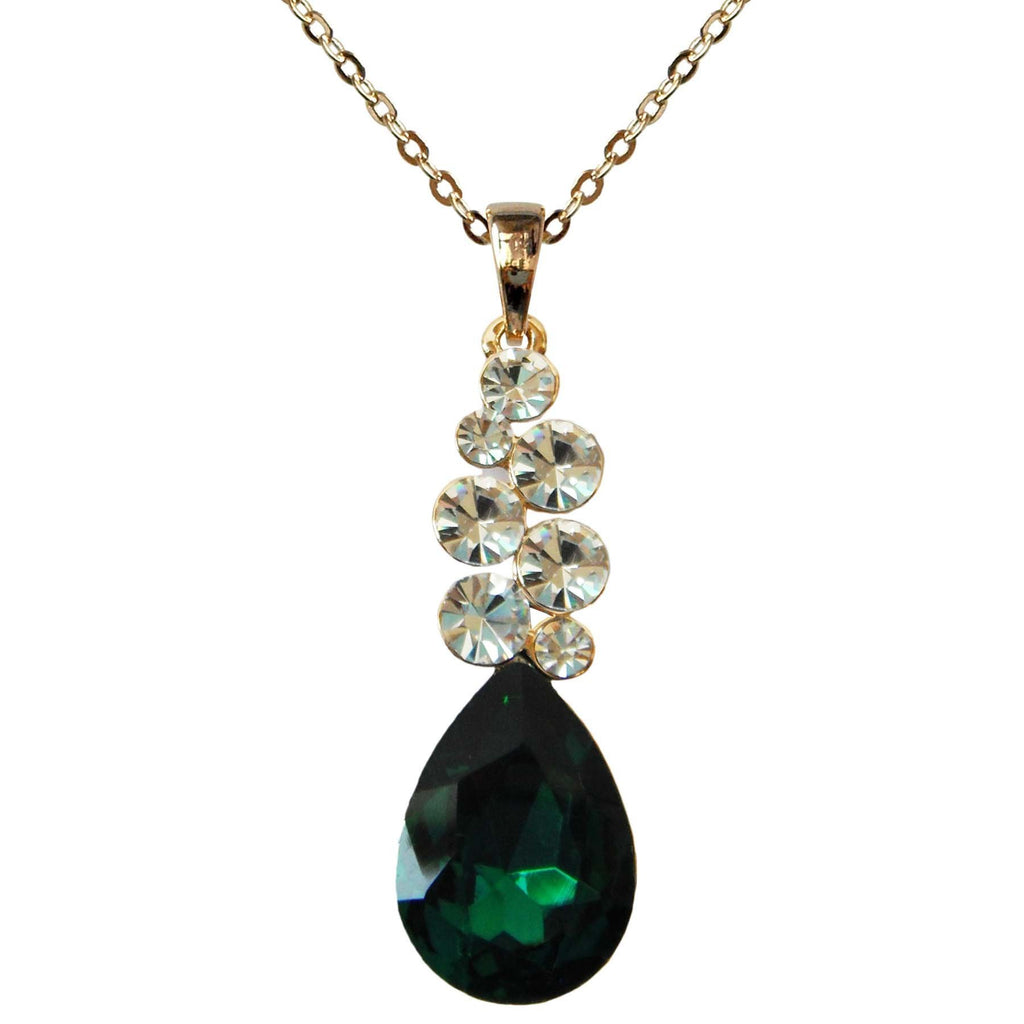 "18k Gold Plated Clear Crystal Green Pear-shaped Zirconia Az6020p Pendant Necklace 16""+2"""