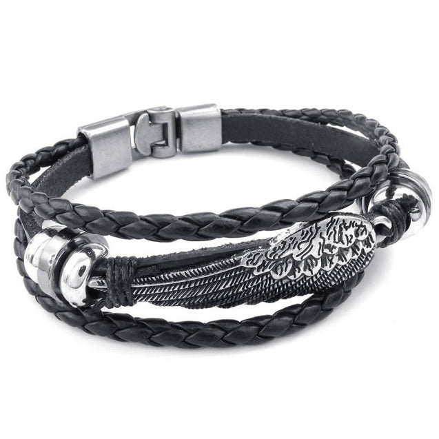 Men Women Genuine Leather Bracelet, Angel Wing Braided Cuff Bangle, Black Silver