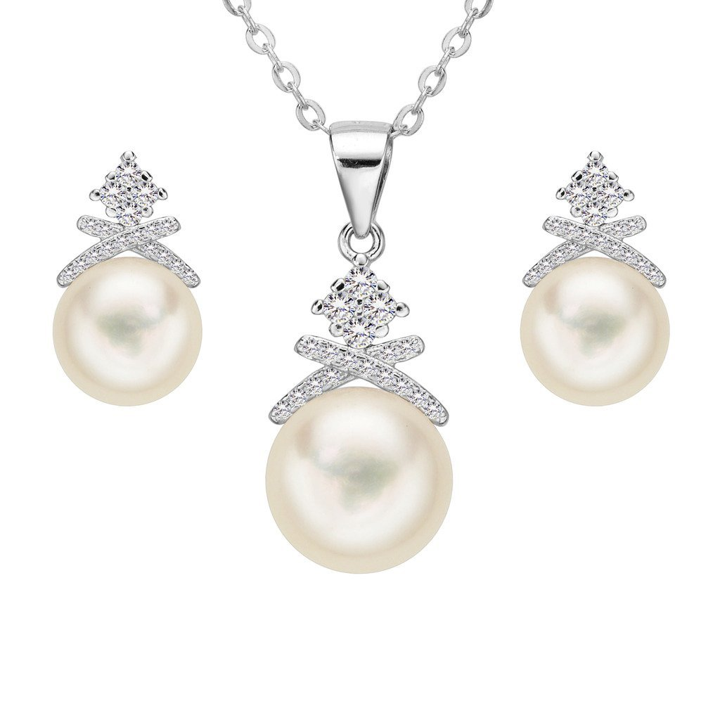 925 Sterling Silver CZ 11MM AAA Freshwater Cultured Pearl Luxury Knot Necklace Earrings Set