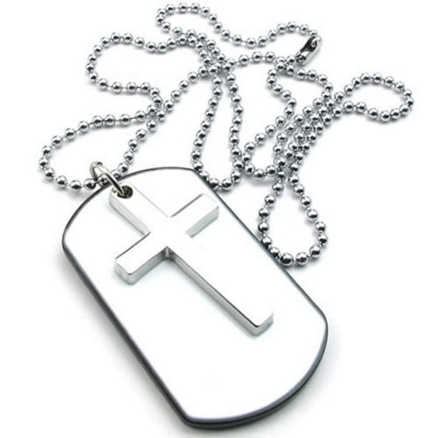 Men Women Army Style Cross Dog Tag Pendant Necklace, 27 inch Chain, White Silver - InnovatoDesign