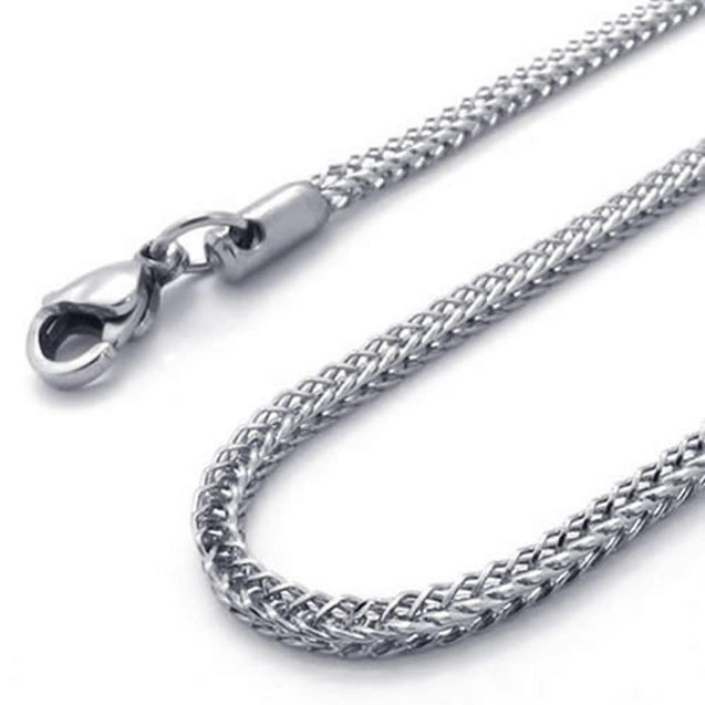 "3.2mm Silver Stainless Steel Men Necklace Chain 18-32"" inch, 3.2mm"