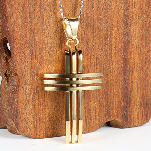 Men's Stainless Steel Pendant Necklace Gold Plating Cross Vintage -With 24 Inch Chain - InnovatoDesign