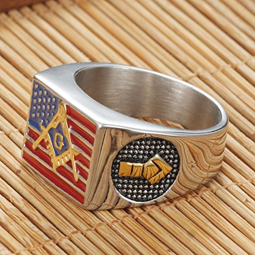 Men's Stainless Steel Colorful Epoxy American Flag Rings Freemasonry Masonic Logo Engraved - InnovatoDesign