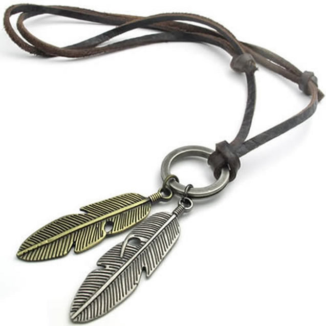 Vintage Angel Feather Pendant Leather Cord Men Necklace Chain, Gold Silver Brown - InnovatoDesign