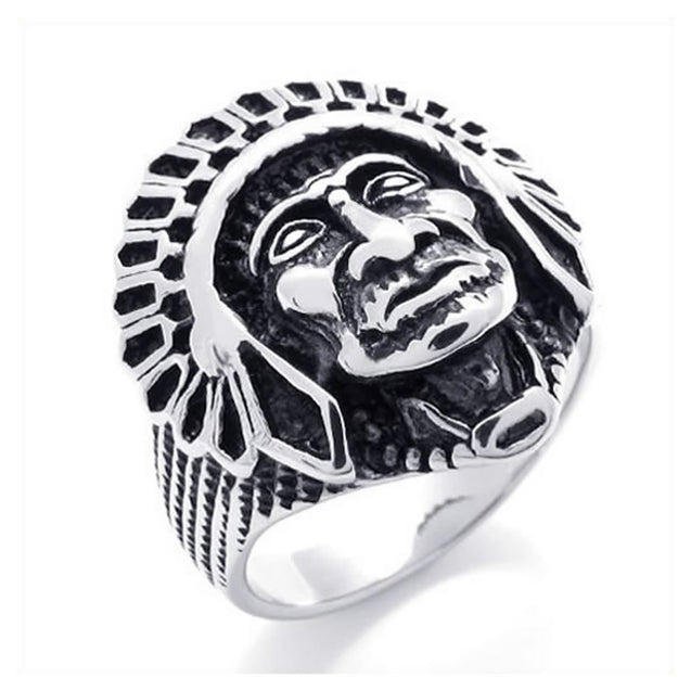 Men Vintage Stainless Steel Native American Indian Ring - InnovatoDesign