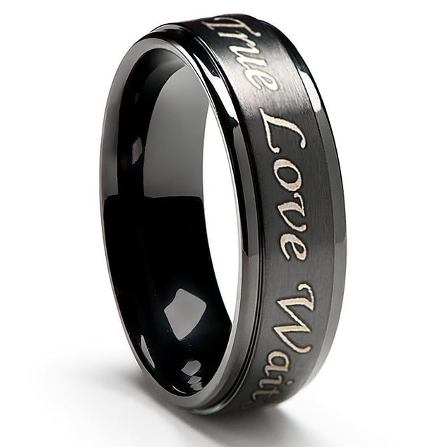 True Love Waits Purity Ring in Titanium Black Plated 6mm wide - Men's & Women's Sizes - InnovatoDesign
