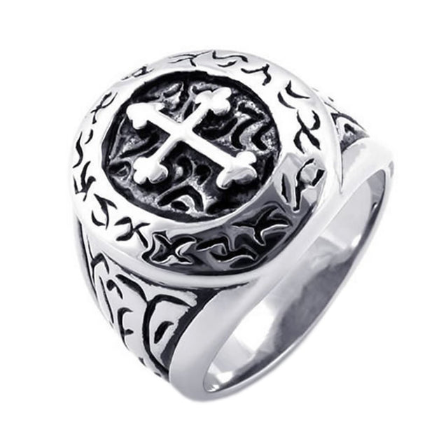 Classic Vintage Cross Men Ring, Stainless Steel Band