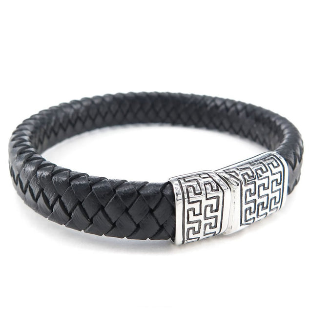 Men Leather Stainless Steel Bracelet, Simple Braided Bangle, Black Silver - InnovatoDesign