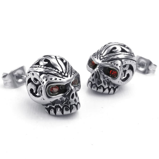 Men Cubic Zirconia Stainless Steel Gothic Skull Stud Earrings, Red Silver