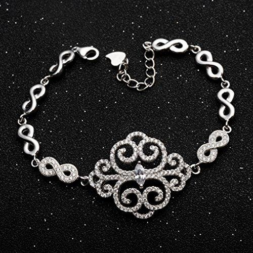 925 Sterling Silver Pave CZ Art Deco Filigree Figure 8 Infinity Woman Link Bracelet Clear