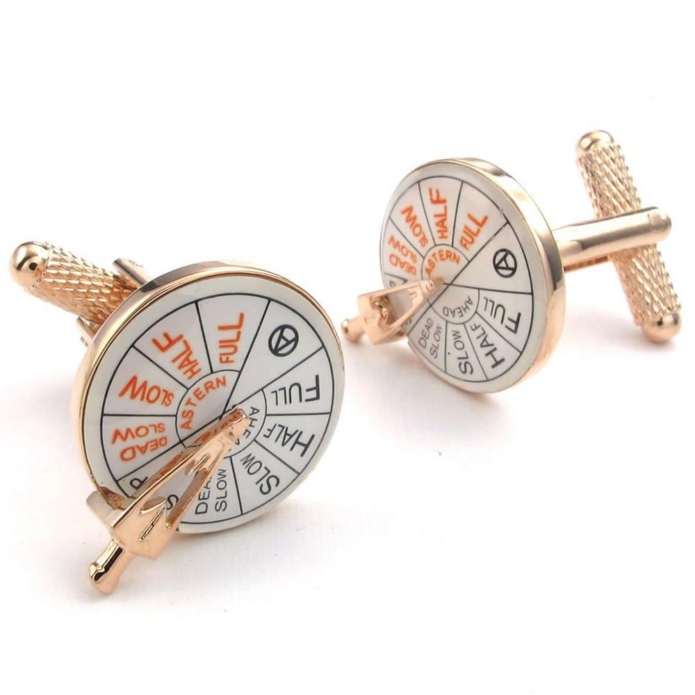 2pcs Rhodium Plated Men Anchor Rudder Helm Shirts Cufflinks, Wedding, Gold White, 1 Pair