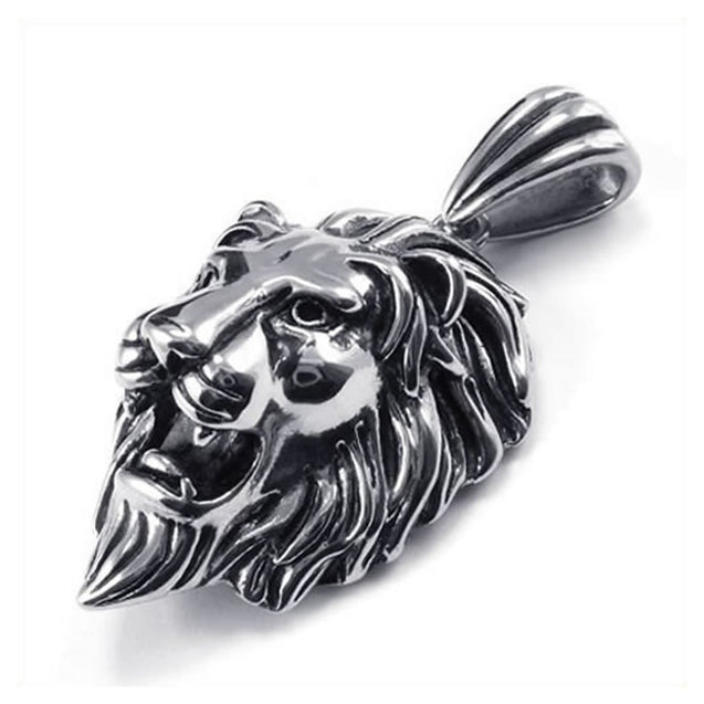 Lion King Tribal Biker Men Stainless Steel Necklace Pendant Silver 24 inch Chain