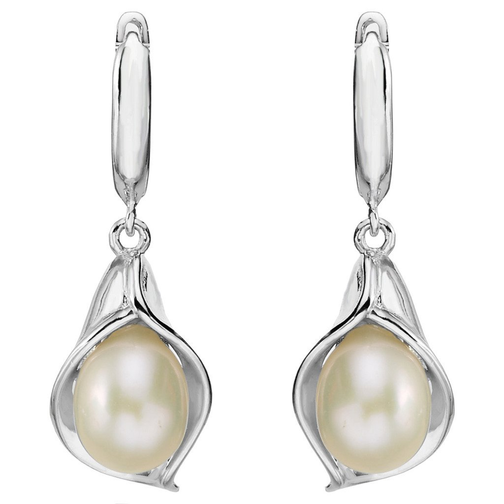 925 Sterling Silver Ivory Color Freshwater Cultured Pearl Morning Glory Dangle Earrings