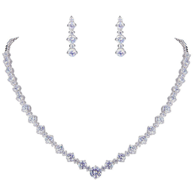 Wedding Silver-Tone Clear Zircon CZ Flower Circle Necklace Earrings Set - InnovatoDesign