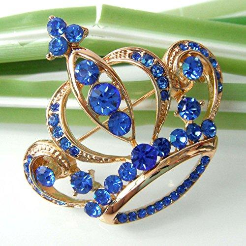 18k Gold Plated Blue Crystal Royal Crown Brooch pin