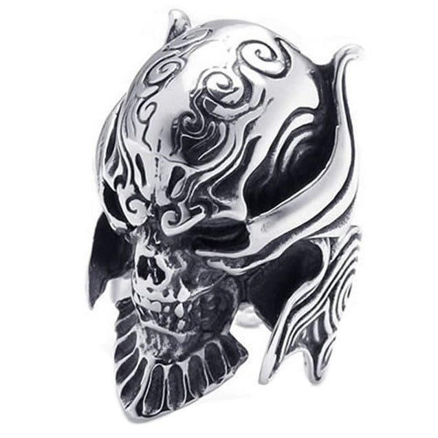 Large Biker Men Gothic Casted Skull Stainless Steel Ring - InnovatoDesign