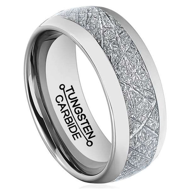 Men 8mm Silver Tungsten Carbide Ring Vintage Meteorites Pattern Wedding Engagement Band Domed Comfort Fit - InnovatoDesign
