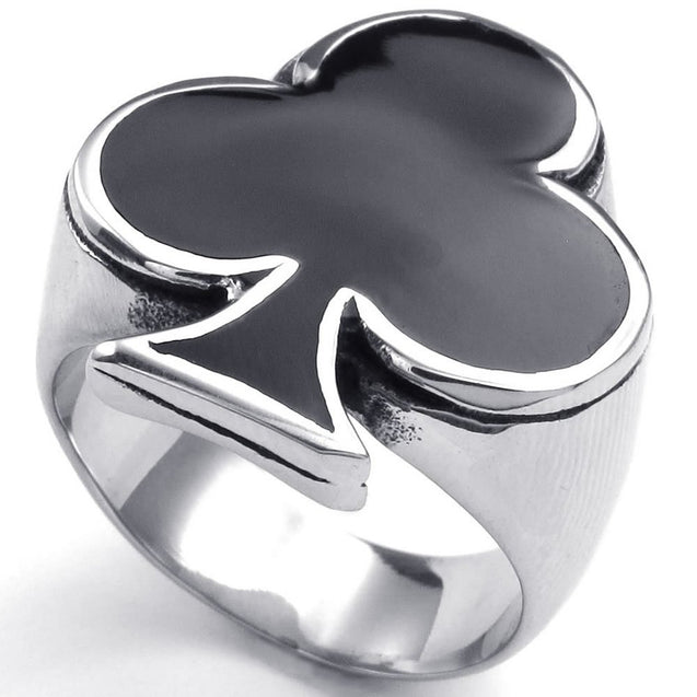 Men Women Stainless Steel Ring, Poker Playing Card Clubs, Black - InnovatoDesign